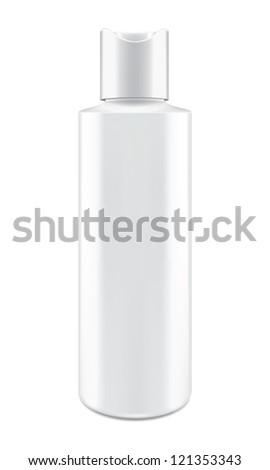 white bottle isolated on white - stock photo