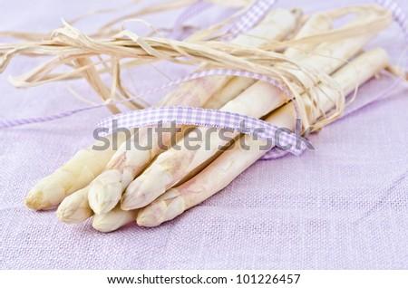 white bound asparagus from schrobenhausen - stock photo