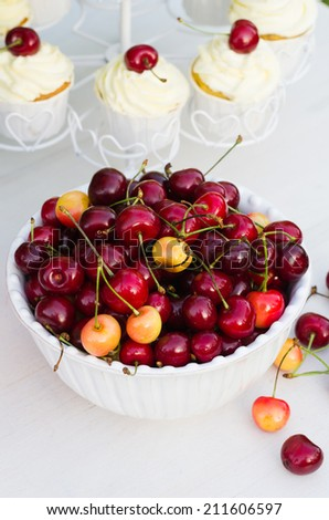 White bowl full of cherries and cupcakes with cherries in the background - stock photo