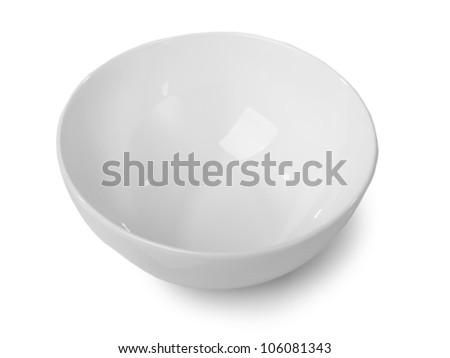 White bowl isolated on white background - stock photo