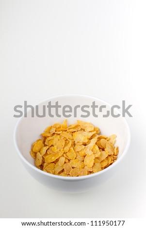 white bowl with cornflakes - stock photo