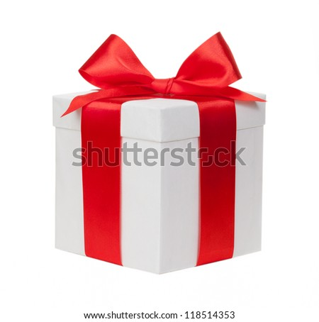 White box, bow and ribbon - stock photo