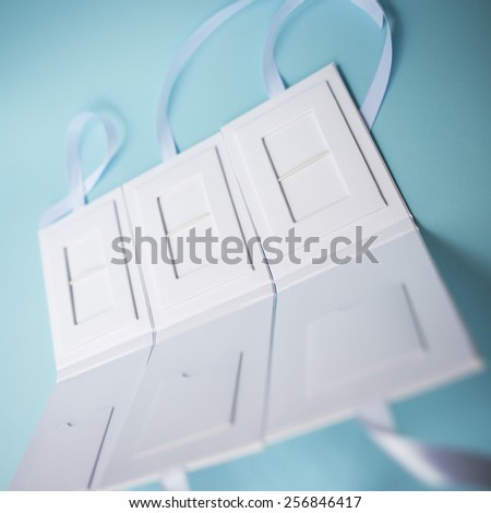 white box for USB memory stick. packaging for gift set - stock photo