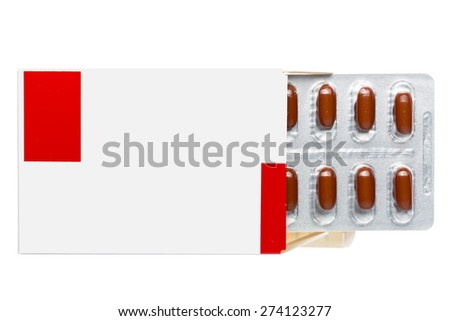 White box with brown pills in a blister pack on an isolated background - stock photo