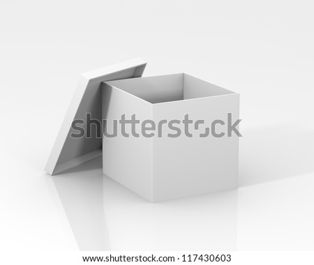 White box with lid and reflections - stock photo
