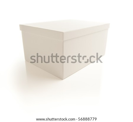 White Box with Lid Isolated on a White Background. - stock photo