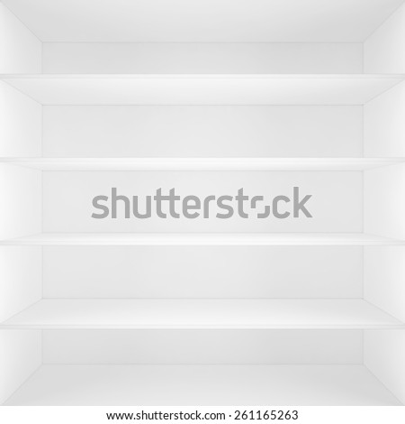 white box with shelves inside. 3d high resolution image - stock photo