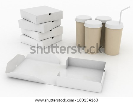 White boxes for pizza and white  containers for cola with tubule. 3d illustration on a white background  - stock photo