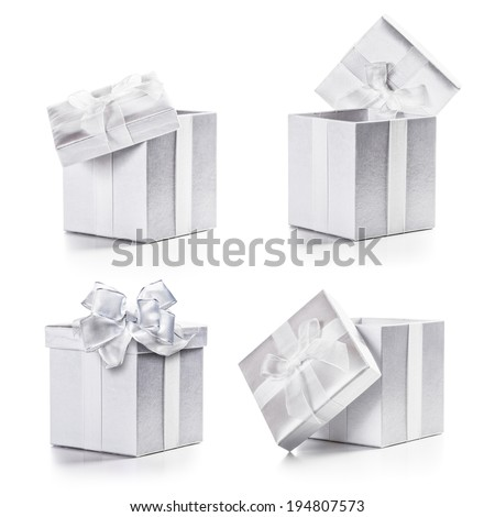 White boxes with ribbon bow collection isolated on white background  - stock photo