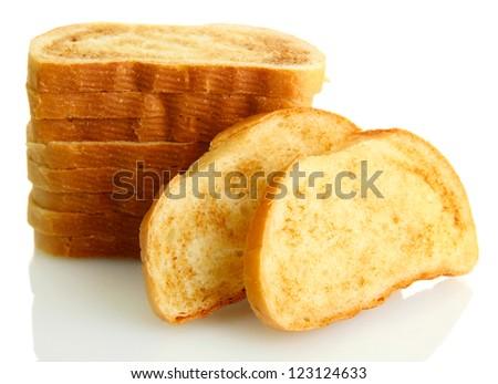 White bread toast, isolated on white - stock photo
