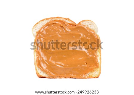 white bread with peanut butter isolated white background - stock photo