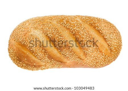 White bread with sesame. View from above. Isolated on white background - stock photo