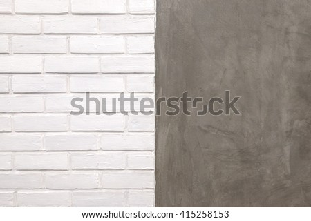 White brick and cement symmetry wall texture - stock photo