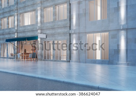 White brick building and cafe exterior at night. 3D Render - stock photo