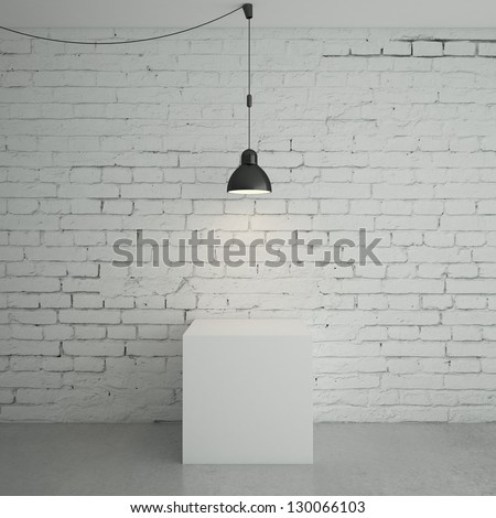 white brick room with cube - stock photo
