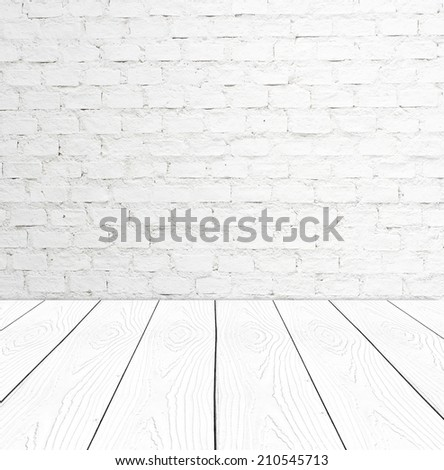 White brick wall and perspective white wood, Template, room, table. - stock photo