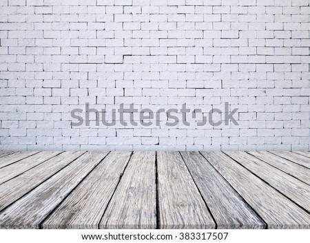 white brick wall and wooden floor texture background - stock photo