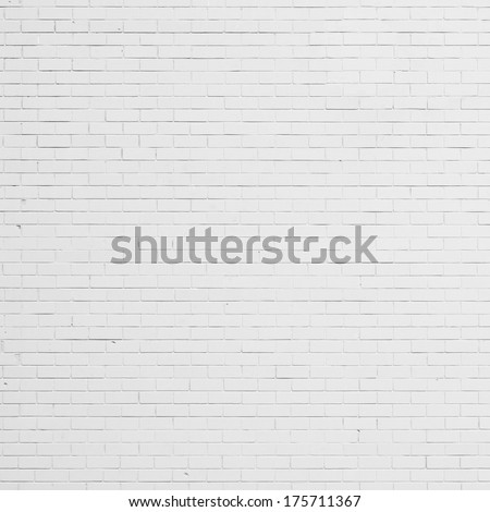 White brick wall background, texture - stock photo