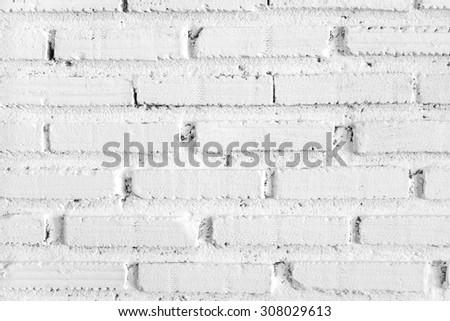 White brick wall close up - stock photo