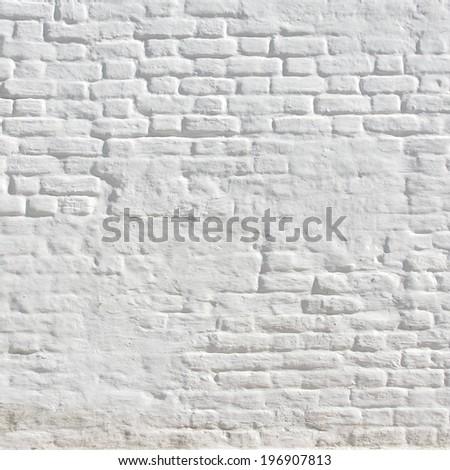 White brick wall frame background - stock photo