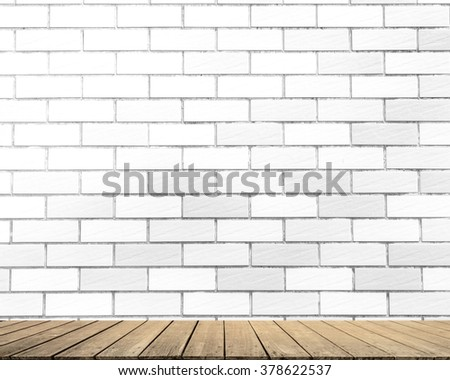 White Brick wall texture surface natural color use for background with Wood terrace equipment professional outdoors levels house workplace installing work techniques industry build job improvement  - stock photo