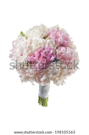 white bridal bouquet with peonies - stock photo