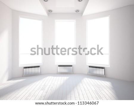 white bright interior - stock photo