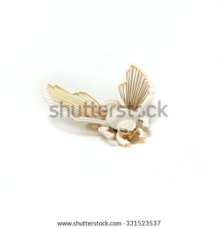 White Brooch bumblebee - stock photo