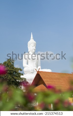 White buddha in Thailand - stock photo
