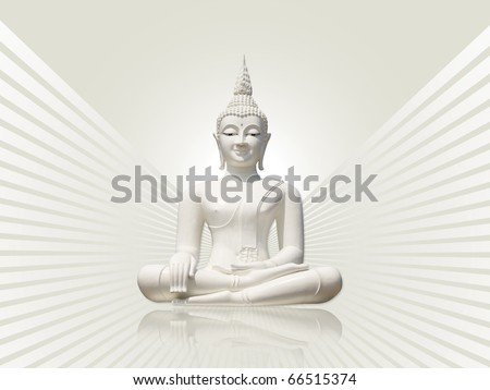White buddha incl. clipping path, isolated against white gray rays background - stock photo