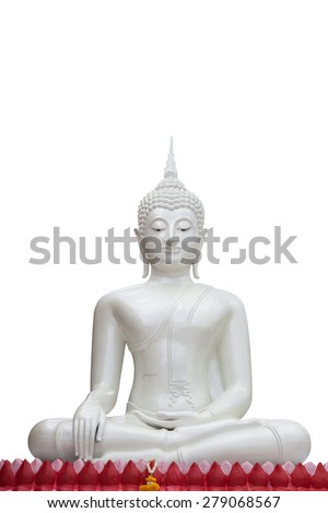 White buddha isolated against white background - stock photo
