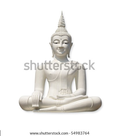 White Buddha, isolated against white background (incl. clipping path) - stock photo