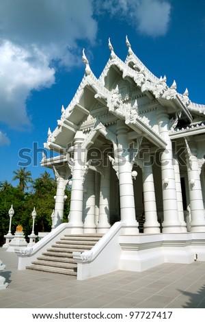 White buddhist temple in Krabi town, Thailand - stock photo