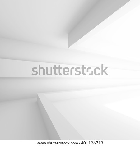 White Building Construction. Abstract Architecture Background. Modern Interior Design. 3d Rendering of White Architecture Design - stock photo
