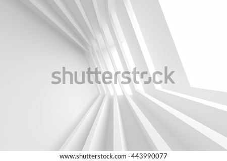 White Building Construction. Abstract Futuristic Architecture Background. Minimal Office Interior Design. Empty Room with Window. Geometric Shapes Structure. 3d Render - stock photo