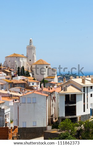 White building in Spain with sea - stock photo