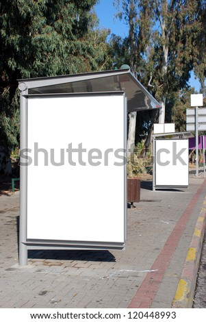 White Bus stop Sign - stock photo