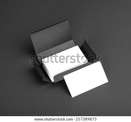 White business cards in the gray box - stock photo
