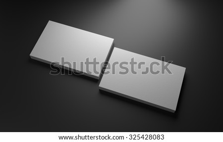 White business cards mockup template on dark background - stock photo