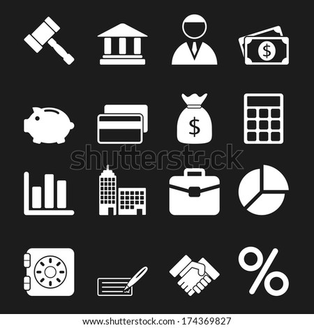White Business Icons Set - stock photo