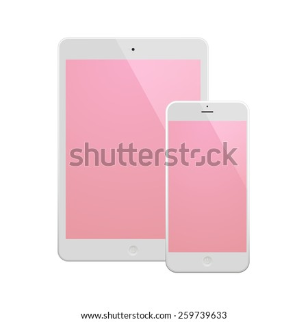 White Business Phone and White tablet with pink screen. Illustration Similar To iPhone iPad. - stock photo