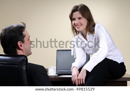 white business woman seducing her partner - stock photo