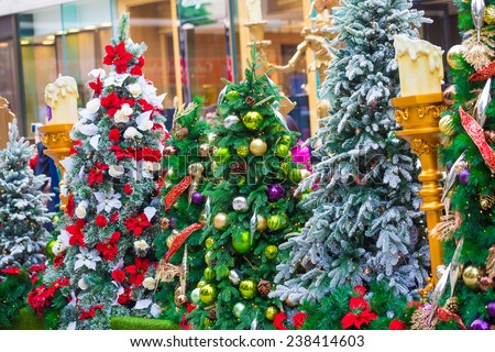 White candle and Christmas flowers against Christmas tree background. - stock photo