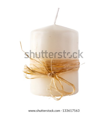 White candle isolated on white background. clipping path included. - stock photo