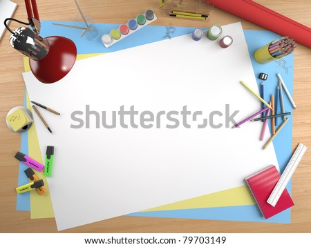 white canvas on a drawing table with lots of stationery objects making a center copy space for you text or design - stock photo