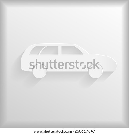 White car icon - stock photo