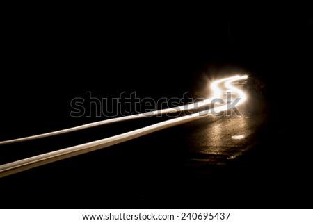 white Car light trails. Art image . Long exposure photo take at night - stock photo