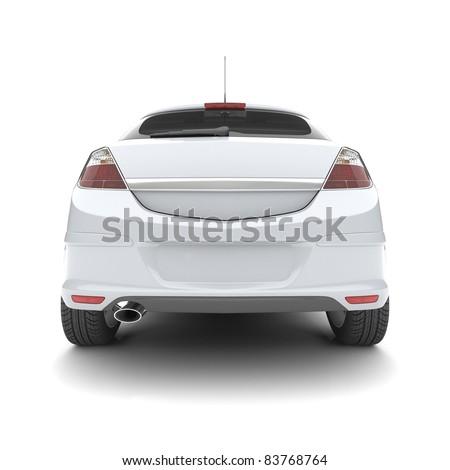 White car on a white background. 3d illustration - stock photo