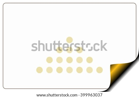 White card with a gold bend page with copy space. Raster graphic image. - stock photo
