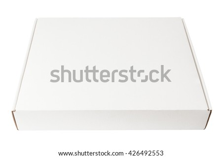 White cardboard box isolated on white background - stock photo